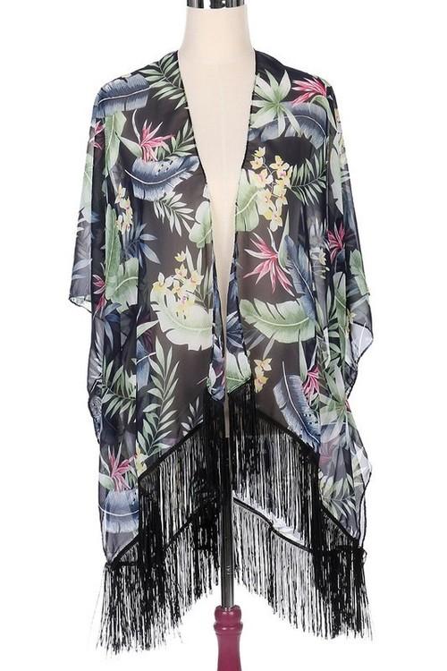 Black Tropical Print Kimono