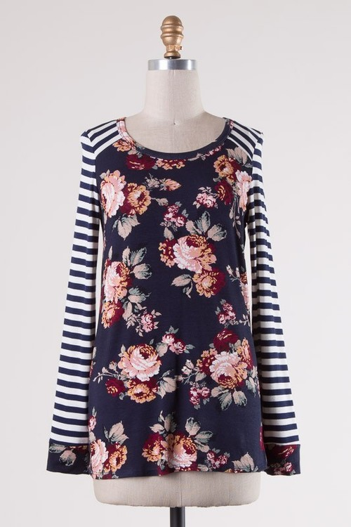 Navy Floral & Stripe Pullover