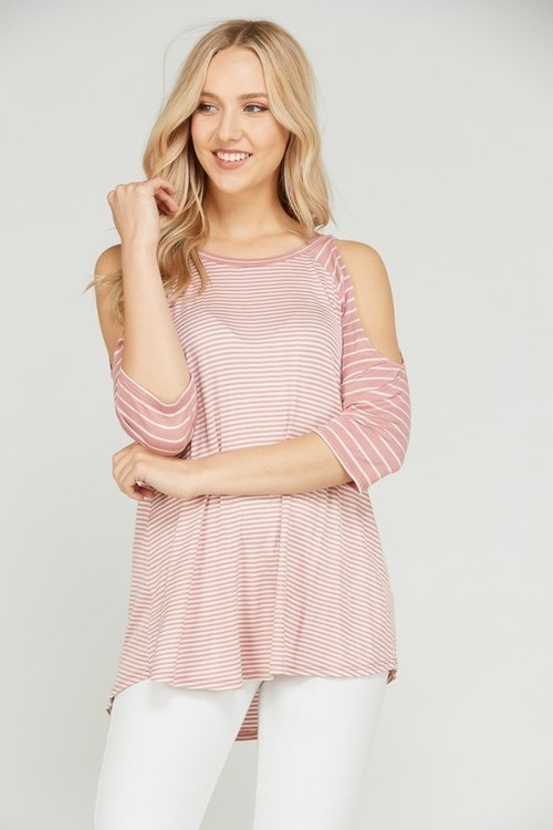 Open Shoulder Stripe Dusty Pink Top