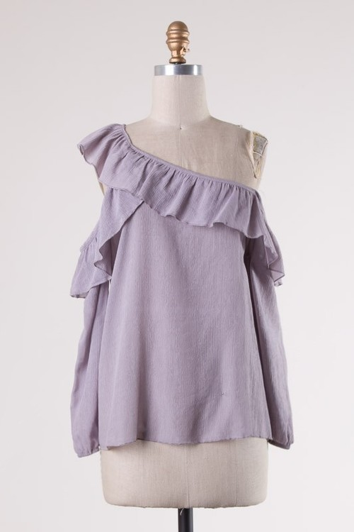 Lavender Ruffle Trimmed Top