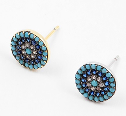 Turq/Navy Evil Eye Stud