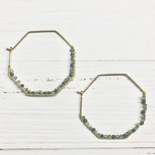 Beaded Hexagon Hoop Dangle