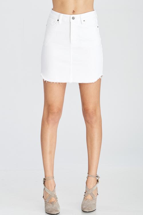5 Pocket Zip Front Front Frayed Denim Skirt