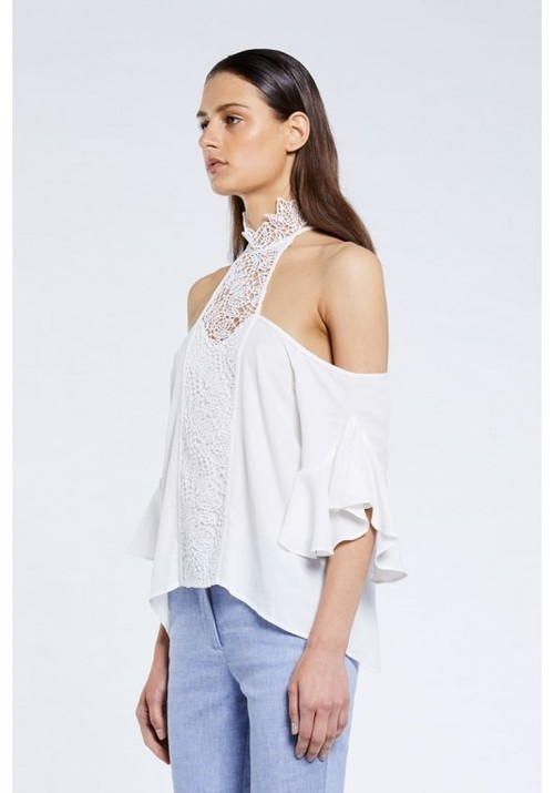 Rhodes Lace Neck Ruffle Sleeve Top