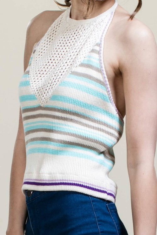 Knit Halter Neck Crop Top