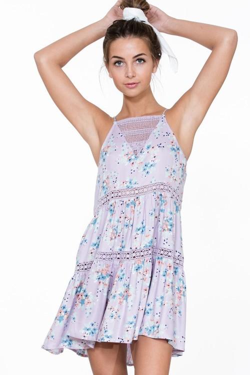 Sleeveless Floral Lace Mini Dress