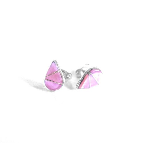 Navajo Pink Mussel Shell Sterling Stud