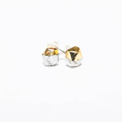 White Howlite Gold Dipped Studs