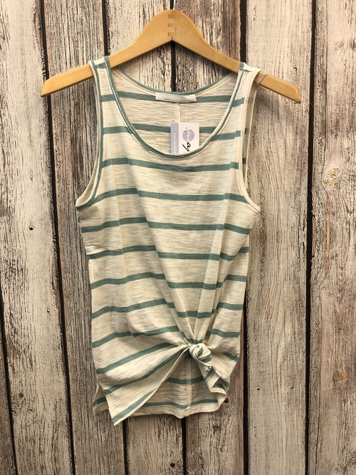 Green & White Stripe Tank