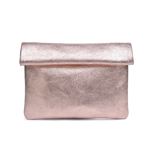 Gianna Metallic Rose Gold Clutch