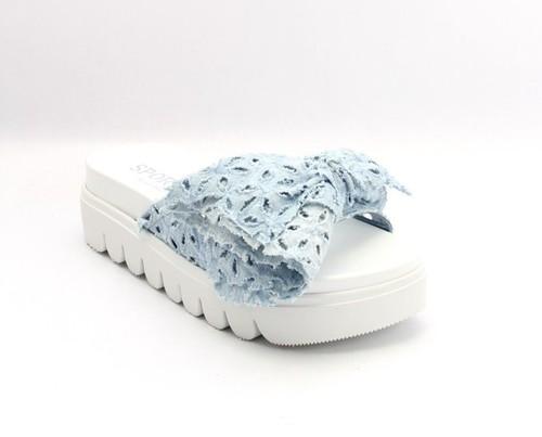 Sky Blue Jeans Bow White Sole Platform Slides