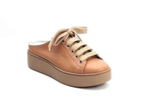 Beige Leather Lace-Up Rubber Platform Sole Mules