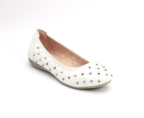 White Stitched Quilted Leather Studded Ballet Flat