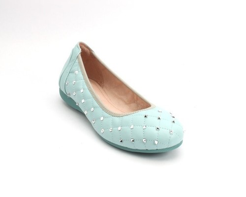 Blue Stitched Quilted Leather Studded Ballet Flat