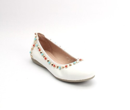 White / Multicolor / Leather Studded Ballet Flats