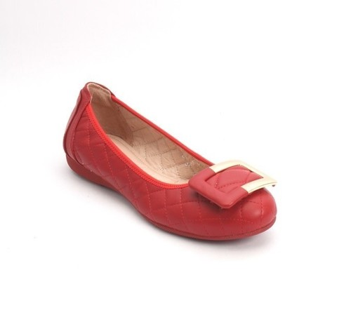 Red / Gold Stitched Quilted Leather Ballet Flats
