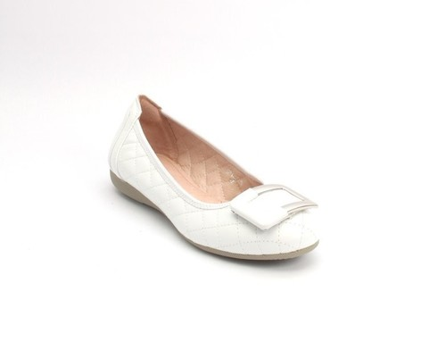 White Silver Stitched Quilted Leather Ballet Flats