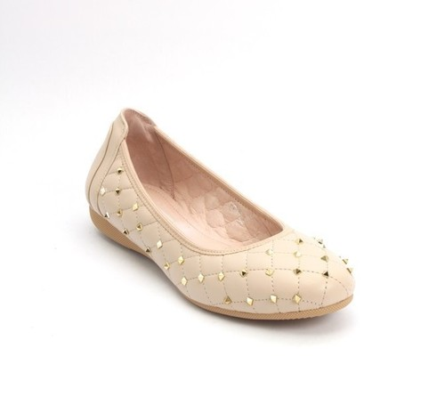 Beige Stitched Quilted Leather Studded Ballet Flat