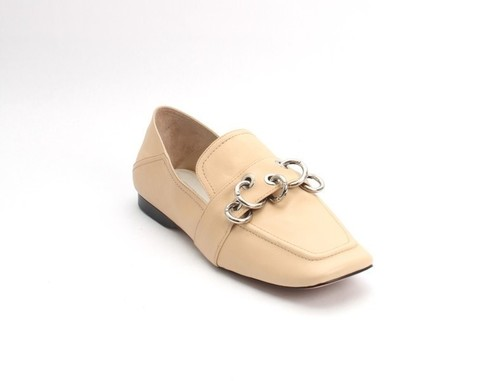 Beige Leather Loafer Fold-Down Heel / Flats