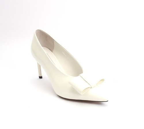 Off White Patent Leather Deep Vamp Bow Heel Pumps
