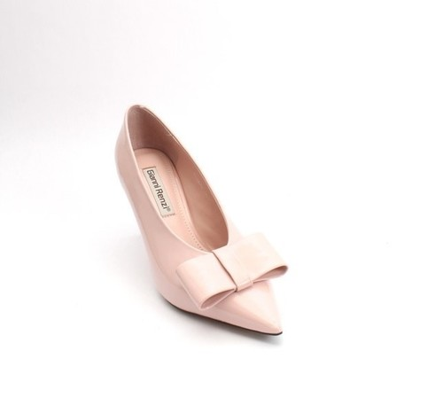 Baby Pink Patent Leather Deep Vamp Bow Heel Pumps
