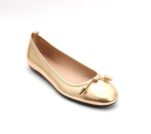Gold Tone Metallic Leather Ballerina Flats