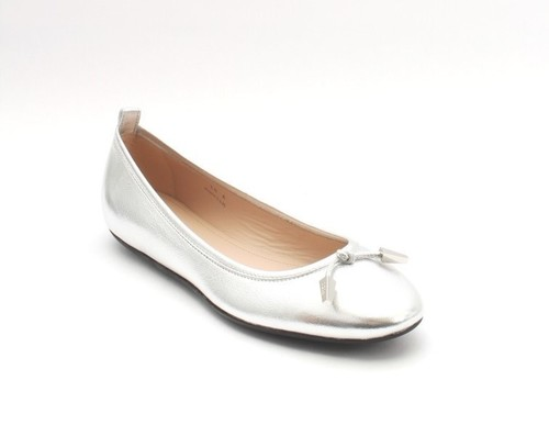 Silver Tone Metallic Leather Ballerina Flats