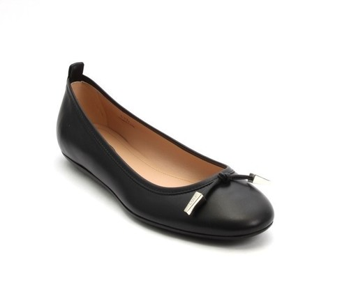 Black Leather Silver Hardware Ballerina Flats