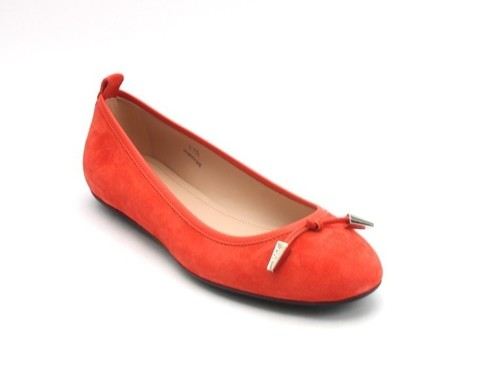 Orange Suede / Leather Silver Hardware Ballerina Flats