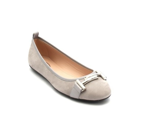 Gray Suede / Leather Double T Buckle Ballerina Flats