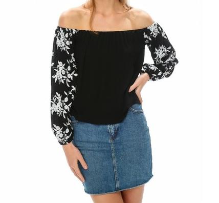 Lace Sleeve Off Shoulder Top