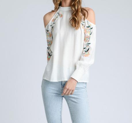 Cold Shoulder Floral Emb Top