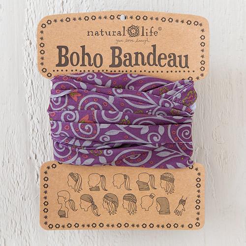 Purple with Grey Scrolls Boho Bandeau