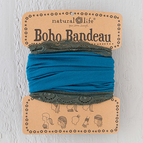 Turquoise Grey Lace Boho Bandeau