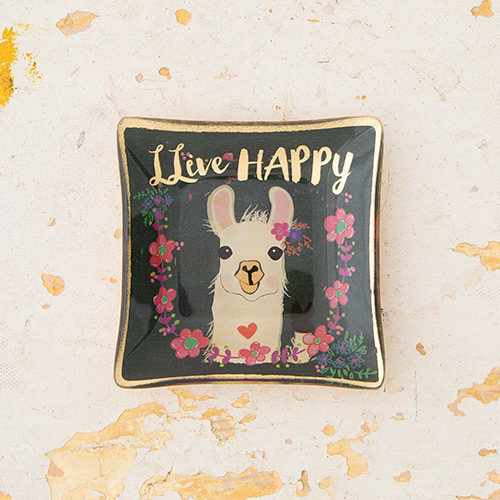 Llive Happy Llama Mini Glass Tray