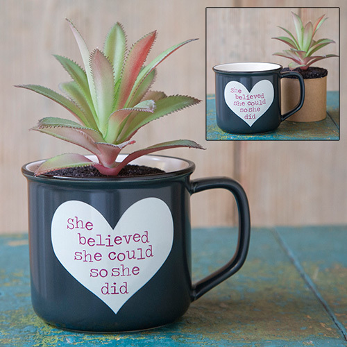 She Believed She Could 2in1 Mug Succulent