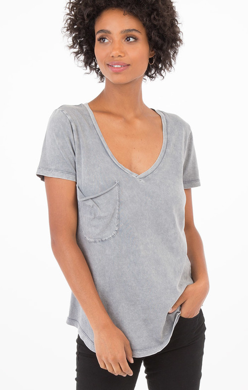 Washed Cotton Pocket Tee Grey