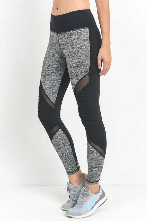 Color Block Full Length Mesh Leggings