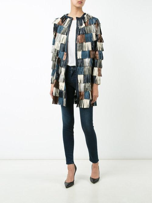 Fringes Coat Long Multi Leather