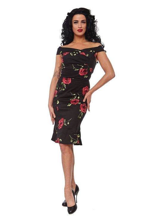 Jasmin Mermaid Pencil Dress in Rose Print