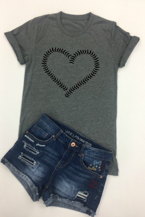 Baseball Heart Black Tee