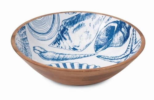 Blue Shell Enamel Serving Bowl