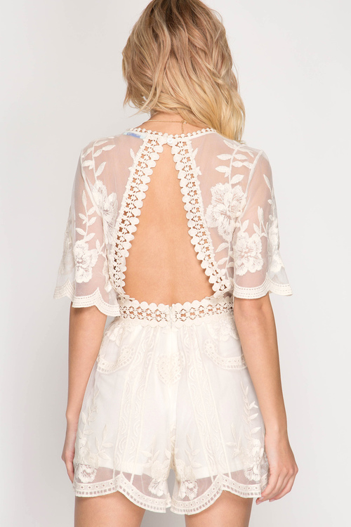 Half Sleeve Mesh Lace Romper with Open Back