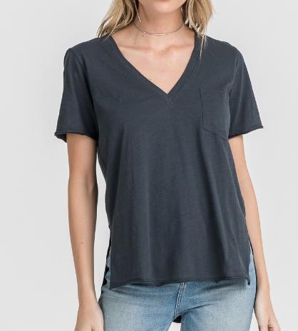 V-Neck T-Shirt w/Pocket