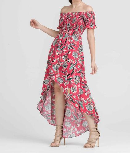Off The Shoulder Printed Hi Low Dress