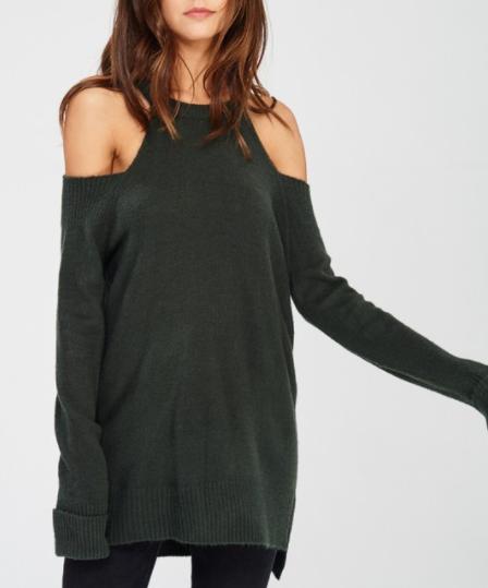 High Neck Cold Shoulder Sweater