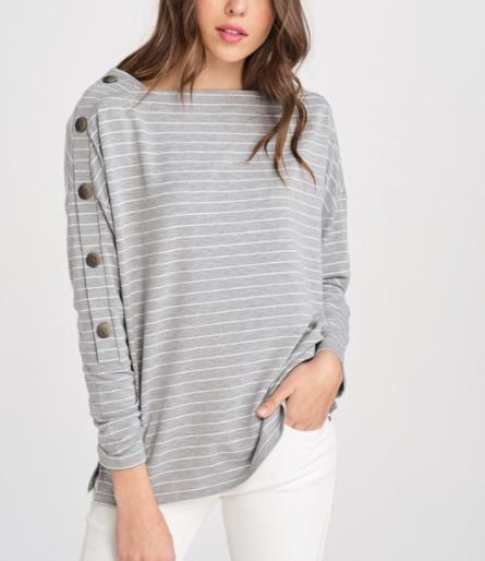 Stripe Button Sleeve Long Sleeve Top