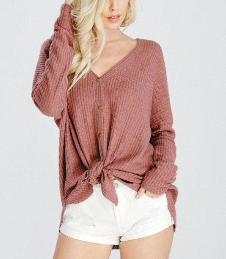 Ribbed V Neck Button Up Top