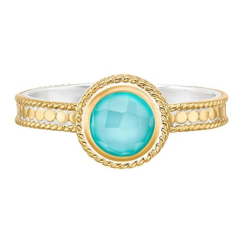 """Abundance"" Turquoise Single Stone Stack Ring"