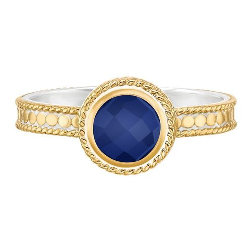 """Wisdom"" Lapis Single Stone Stack Ring"